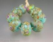 Turquoise, raku, brown, purple organic lampwork beads - set of 9 - TURQUOISE ROMANCE - Beadwife SRA