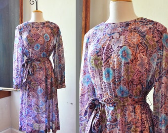SALE 1970's Semi Sheer Floral Print Purple Dress with Belt