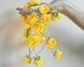Reserved for Kristina - Sunny Yellow -  Longer French Roses Fairy Lights String Light Garland