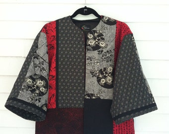 Jet Black and Bright Red Mix on Asian Style Jacket