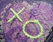 Hugs and Kisses Art Quilted Mini Wall Hanging Textile Fiber Art Purple Green Heart OOAK