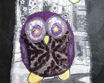 Owl Night II OOAK Art Quilt Wall Hanging Txtile Fiber Art Purple Owl Moon NIght Original