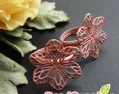 FN-RB-09059- Nickel free  Dusty pink enameled, 6-petal flower  filigree ring base, 2 pcs
