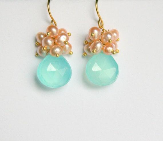 Aqua Teardrop Earrings, Peach Pearl Clusters, Gold Vermeil
