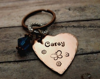 handstamped-personalized key chain-heart with crystal