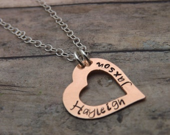 personalized heart necklace-Handstamped jewelry-personalized necklace-sterling silver and copper heart washer
