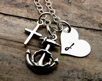 Handstamped jewelry-personalized jewelry-sterling silver necklace-faith-hope-love-anchor-heart-cross