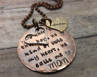Hand stamped jewelry-so there's this boy... mommy necklace with charms
