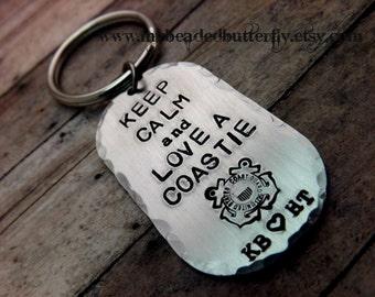 Coast guard keychain-USCG-Coastie-keep calm and love a coastie