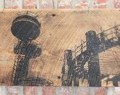 "World's Fair Wall Hanging on Reclaimed Barn Wood - 12""x18"""
