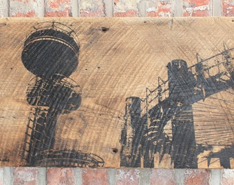 "World's Fair Wall Hanging on Reclaimed Barn Wood - 12""x18"""