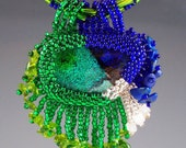 Dichroic Glass Bead Embroidered Pendant and Beaded Necklace