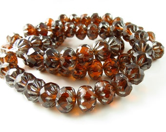 9mm x 6mm Czech Glass Bottle Brown and Silver Crullers Rondelles- 10 Beads - LCCMIS087