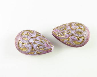 18mm Contemporary Morrocan Style Acrylic Etched Carved Tear Drop Bead -  Purple and Gold - 6 Pcs - LCCA06PUG