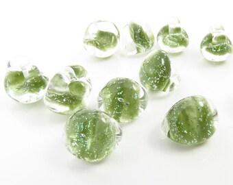 10mm Unicorne Tear Drop Lampwork Beads - Morning Moss Glitter - 4 Pieces - 22137