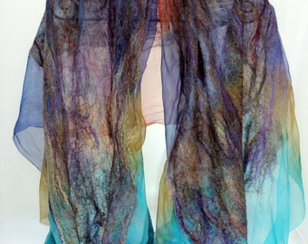 Felt Scarf-Shawl sheer cashmere-soft merino wrap on painted silk - Blue multicolor