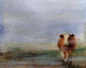 Hereford cow art Print of my watercolor painting custom hand painted giclee large huge big cabin decor farm southwest