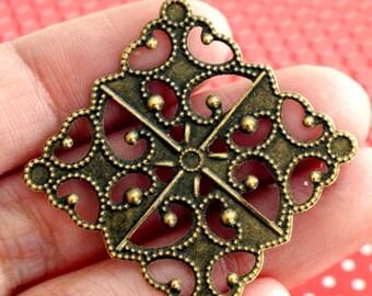 10pcs 30mm Antique Bronze Filigree Diamond Wraps R0146-AB