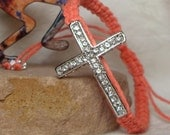 coral hemp bracelet with rhinestone cross adjustable religious