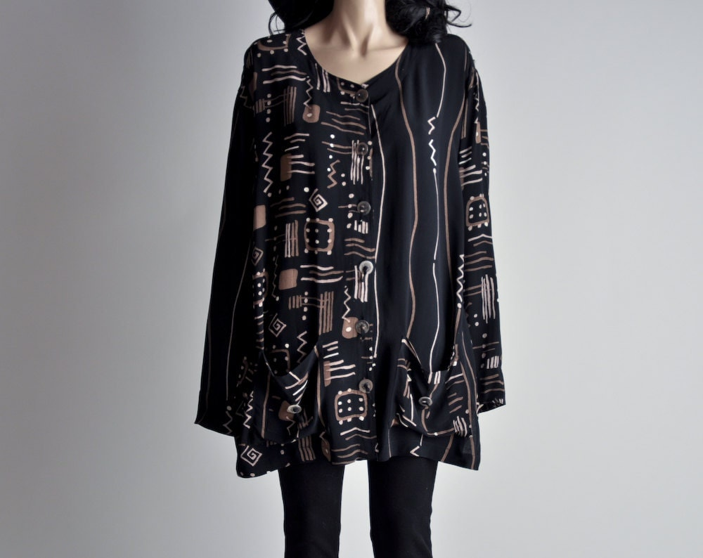 graphic tribal print oversized top jacket s by