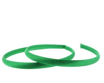 6 pieces - 10mm Satin Covered Headbands in EMERALD Green