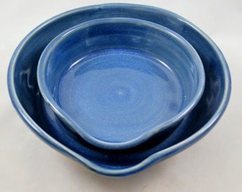 Set of Two Blue Heart Shaped Nesting Batter Bowls with Handles Stoneware Pottery