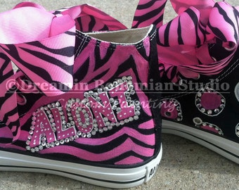 Personalized Converse, Painted High Tops Fuschia and Black Diva Customized and Crystallized for women, Rave Party Shoes, Sweet Sixteen, Teen