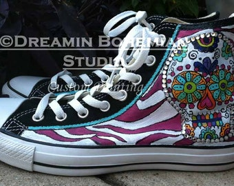 Custom Converse Sugar Skull Sneakers, Shoes for Folklorico Wedding, Womens Painted High Tops, Colorful Animal Prints, Bridesmaids Presents
