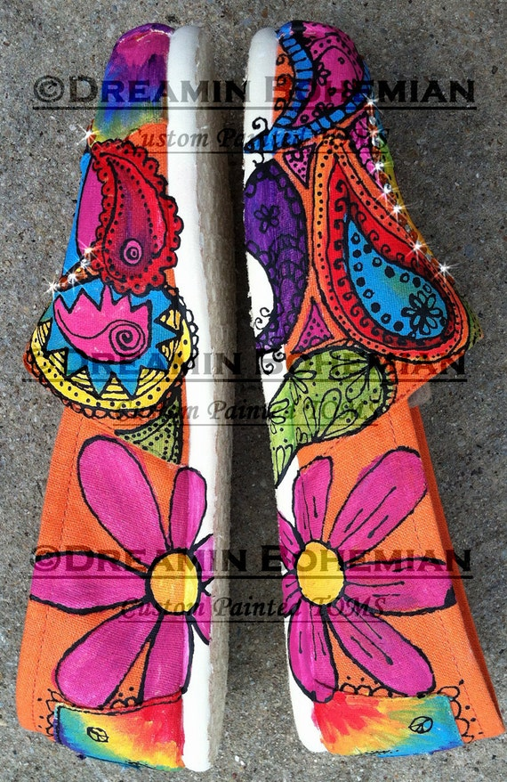 Hand painted Peace Love and Paisleys TOMS Design Fee Only