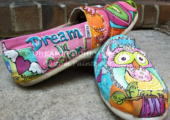 Painted Toms Custom Owl Shoes, Colorful Bird of Prey Flats for Back to School, Painted Slip ons, Outlined with Rhinestones, Owlet lover Gift