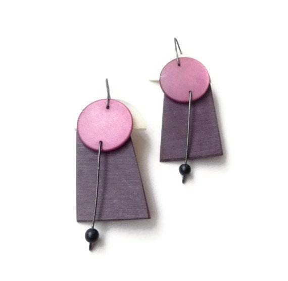 1980s Handmade Modernist Kinetic Mobile Earrings by Alice Klein