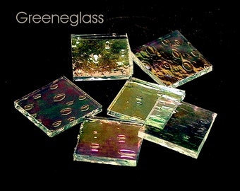 Clear Rainwater Iridized Glass for Mosaics and Stained Glass - Reg Pack - Diamond, Triangles, Rectangles, Squares, Strips