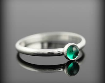 Emerald ring - recycled sterling silver ring with bezel set 4mm gemstone, May birthstone