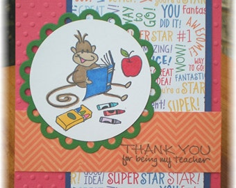 Teacher Appreciation Greeting Card, Thank You Cards, Teacher Thank You Cards