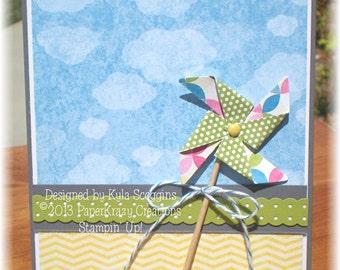 Twirly Whirly Birthday Greeting Card with Pinwheel Theme