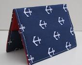 Passport Cover Case Holder - White Anchors on Navy Blue