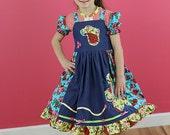 Girls dress, apron twirl dress, blue green dress, denim dress, school dress, peacock, twirl dress mommy and me dress size 2T  to 12 yrs
