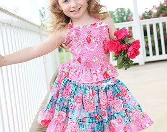 Girls Custom shirred halter top and twirl skirt set size 12 months to 12 yrs - Scottish Roses
