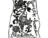 "Alabama state linoleum block print with text + state bird and flower - 9""x12"" wall art"