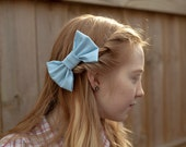 light blue, bobbie-pin hairbow (cotton fabric)