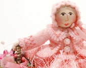 Art Doll With A Basket Of Flowers, Hand Embroidered