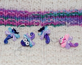 Dragonfly knitting or crochet stitch markers - Set of 4 - Polymer Clay