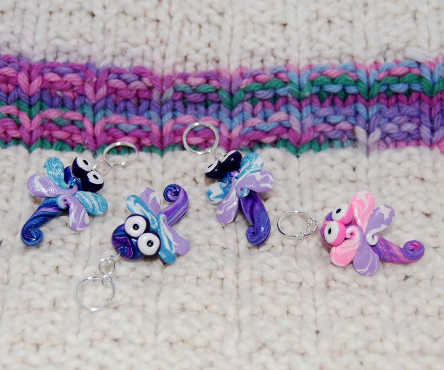 Dragonfly knitting or crochet stitch markers Set by TheClaySheep