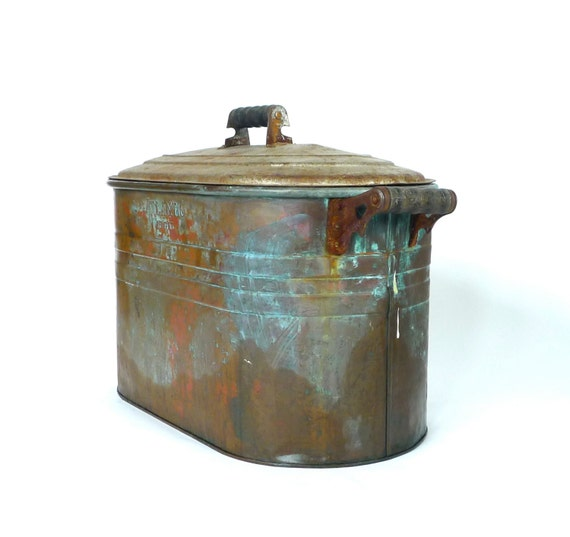 Antique Atlantic Copper Wash Tub Basin With Lid