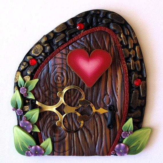 Red heart fairy door kids wall art home decor for Fairy door wall art