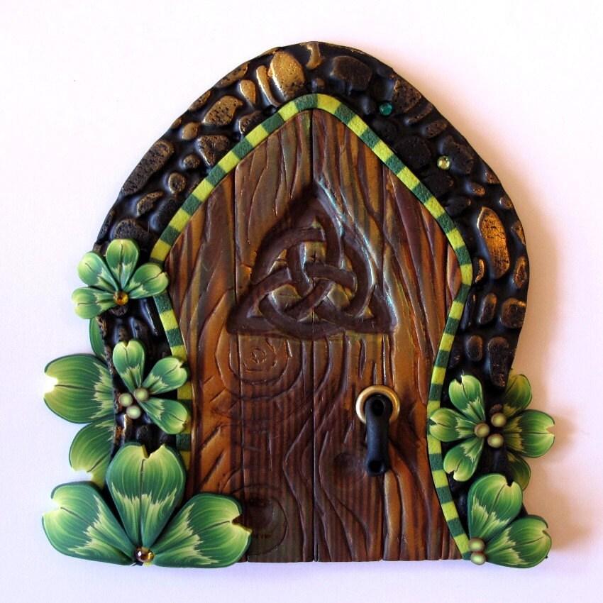 Shamrock fairy door kids wall art home decor by claybykim for Fairy door wall art