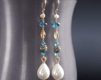 Custom Made to Order - 14K Solid Gold Dangle Pearl and London Blue Topaz Earrings