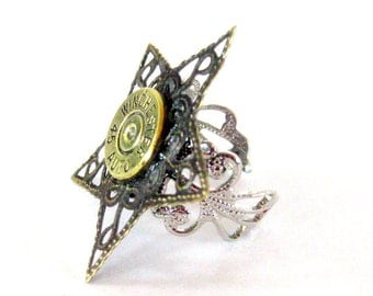 Winchester Bullet casing Ring 45 Auto Shotgun Bullet Jewelry filligree  ring