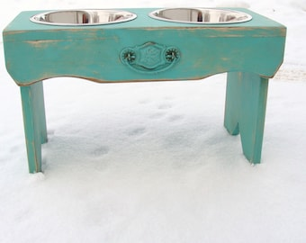 Vintage Style Dog Bowl Holder Elevated Dog Feeder Rustic Cottage Beach Decor Marine Sea Blue