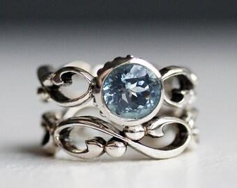 Aquamarine engagement ring set, unique bezel engagement ring, March birthstone ring, wedding ring set, infinity ring silver, custom Wrought